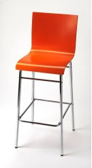 Enhance your kitchen, bar or work space with this modern bentwood barstool. Its high-back rectangular seat is finished in bold orange with a chrome plated steel tube base and footrest. Product Image