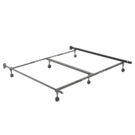 """Restmore Adjustable K45R/6R Bed Frame with Fixed Headboard Brackets and (6) 2"""" Locking Rug Roller Legs, Queen / King / Cal King"""