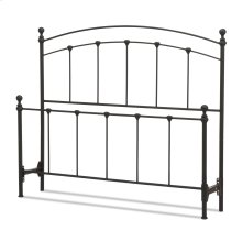 Sanford Metal Headboard and Footboard Bed Panels with Castings and Round Finial Posts, Matte Black Finish, Full