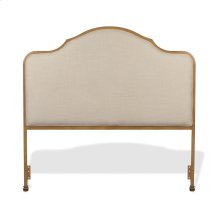 Calvados Metal Headboard Panel with Sand Colored Upholstery, Natural Oak Finish, King