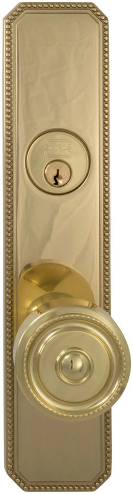 Exterior Traditional Mortise Beaded Entrance Knob Lockset with Plates in (US3 Polished Brass, Lacquered)