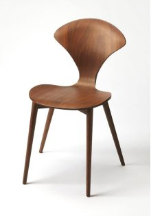 Step back in to the mid century with this cool retro bentwood chair. Crafted of rubberwood solid and walnut veneer, this sleek and exaggerated curvy chair while pair well with any dining situation, den or modern kitchen for a retro look.