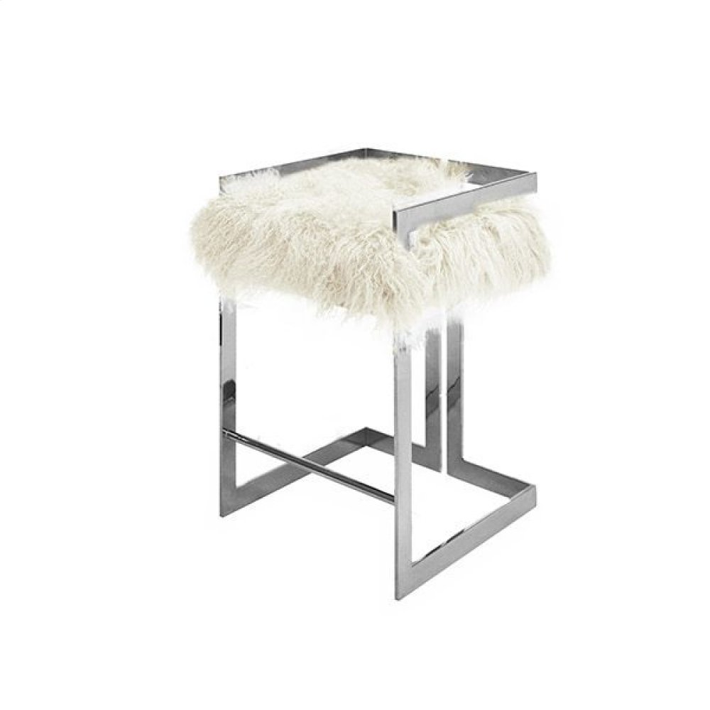 """Counter Height Nickel Stool With White Mongolian Fur Cushion - Seat Height 27"""""""