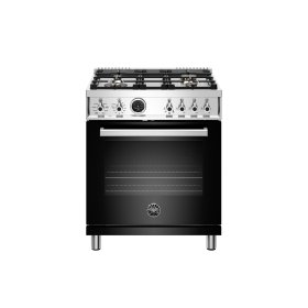 30 inch Dual Fuel Range, 4 Brass Burner, Electric Self-Clean Oven Nero