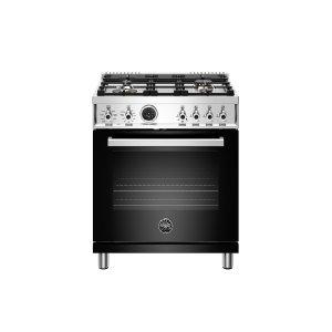 Bertazzoni30 inch Dual Fuel Range, 4 Brass Burner, Electric Self-Clean Oven Nero