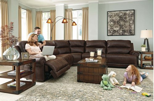 Luttrell - Espresso 5 Piece Sectional