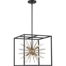 Spirefly - 6 Light Pendant Fixture; Matte Black and Burnished Brass Finish