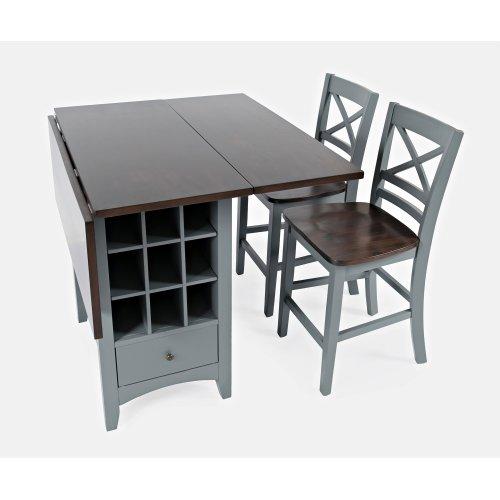 Asbury Park Counter Drop Leaf Table W/2 X Back Stools - Grey/autumn