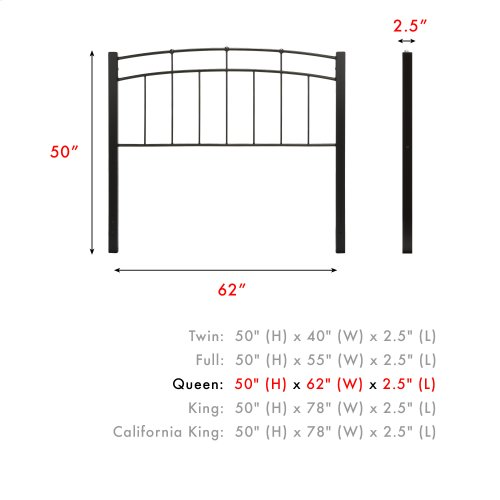 Scottsdale Metal Headboard Panel with Dark Espresso Wood Posts and Sloping Top Rail, Black Speckle Finish, Queen