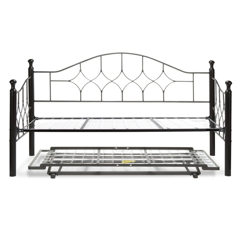 Bianca Complete Metal Daybed With Link Spring And Trundle Bed Pop Up Frame Hammered