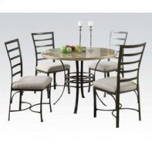 Val Wh/rd Faux 5pc Dining Set