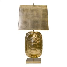 Gold Leafed Tortoise Shell Lamp With Rectangular Metal Shade. Ul Approved for (1) 60 Watt Edison Based Bulb. 3' Clear Cord Set.