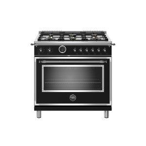BERTAZZONI36 inch Dual Fuel Range, 6 Brass Burner, Electric Self-Clean Oven Nero Matt