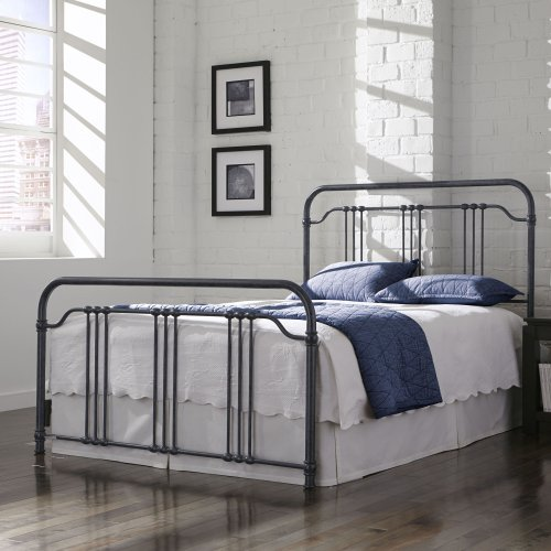 Wellesly Metal Headboard and Footboard Bed Panels with Straight Spindles and Intricately Designed Casters, Marbled Navy Finish, Full