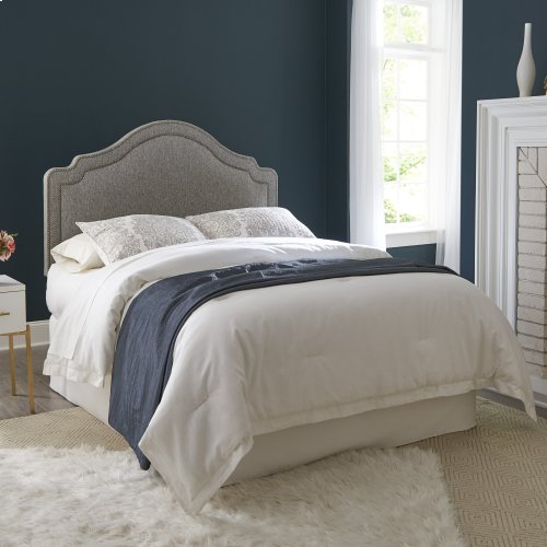 Beatrix Upholstered Headboard with Adjustable Height and Nailhead Trim, Ash Gray Finish, Full / Queen