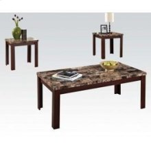 3pc Pk Tables W/brown Faux Marble