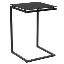 Black Glass End Table with Black Metal Frame