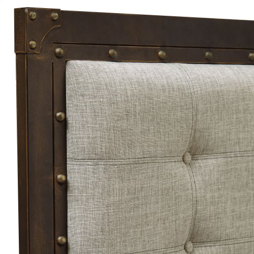 Gotham Metal Headboard with Dark Latte Upholstered Panel and Antique Industrial Studs, Brushed Copper Finish, Queen