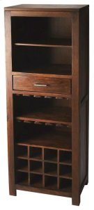 This sophisticate bar cabinet adds a warm feel to your entertainment space. It offers convenient shelf storage for upright bottles, glassware or display pieces, stemware holders, horizontal space for 12 bottles of your favorite vintage, and one drawer for Product Image