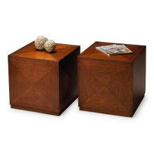 This Bunching Cube is the ultimate in style and function, and designed for contemporary spaces. Crafted from poplar hardwood solids and wood products with matched cherry veneers on the top and sides, it boasts an inviting Chestnut finish. Just one command