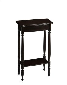 A graceful bright spot for a small space, the hallmark of this Console Table's exquisite design is the prominence of four slender legs - carved and turned and immaculately shaped. The petite tabletop and apron shimmer in our Rubbed Black finish. Crafted f