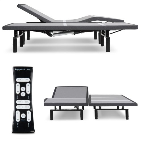 Simplicity 3.0 Low-Profile Adjustable Bed Base with Full Body Massage and Simultaneous Movement, Charcoal Gray Finish, Split Queen