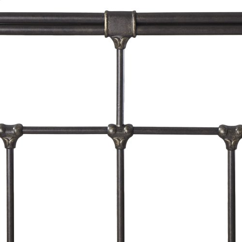 Fairfield Metal Headboard Panel with Spindles and Intricate Castings, Dark Roast Finish, California King