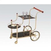 Gold Serving Cart W/bk Glass Product Image