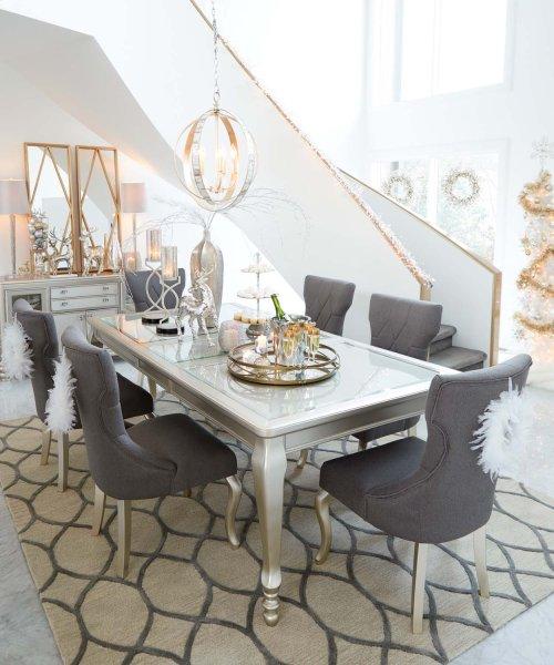 Coralayne - Silver Finish 7 Piece Dining Room Set