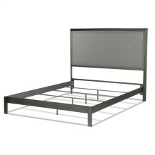 Normandy Platform Bed with Metal Frame and Steel Gray Upholstered Headboard, Distressed Charcoal Finish, Queen