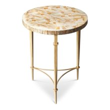Embodying classic Art Deco design, this stunning accent table features a luminous tabletop carefully handcrafted from exotic cabibe shell veneer over wood products. Its cream finished metal base boasts sleek, tapered legs ending in ballerina feet joined b