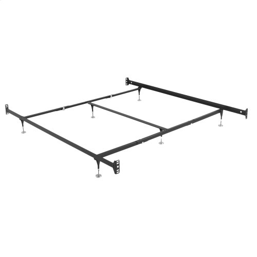 Fashion Rails Brass Bed Frame System 10061 with Bolt-On Headboard Brackets and (6) Adjustable Leg Glides, Queen - King