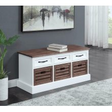 Weathered Brown and White Storage Bench