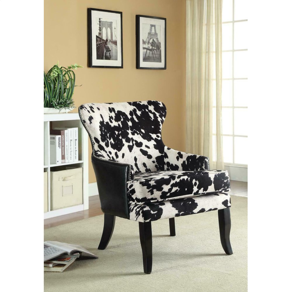 Traditional Black and White Accent Chair