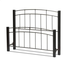 Scottsdale Metal Headboard and Footboard Bed Panels with Dark Espresso Wood Posts and Sloping Top Rails, Black Speckle Finish, Queen