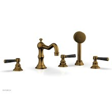 HENRI Deck Tub Set with Hand Shower with Black Marble Handles 161-50 - French Brass