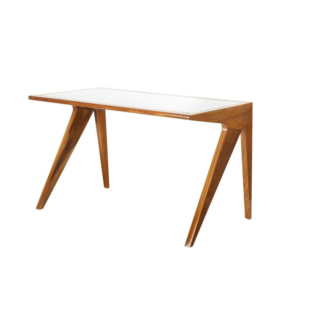Rosewood Mid Century Style Desk With Inset Glass Top