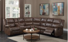 Theo Brown Leather Gel Reclining Sectional