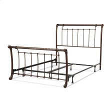 Legion Complete Bed with Metal Sleigh Panels and Twisted Rope Top Rails, Ancient Gold Finish, King