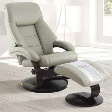 Mandal Recliner and Ottoman in Putty Top Grain Leather