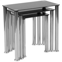Black Glass Nesting Tables with Stainless Steel Legs
