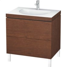 Furniture Washbasin C-bonded With Vanity Floorstanding, American Walnut (real Wood Veneer)