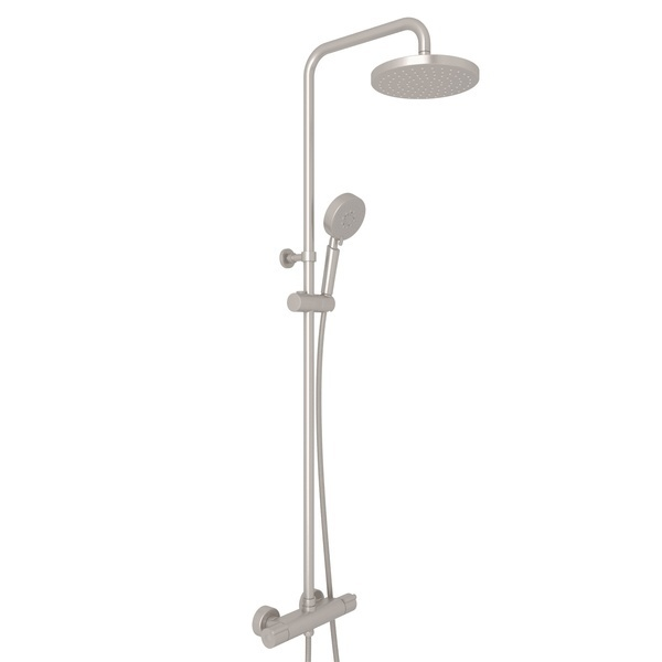 Satin Nickel Mod-Fino Exposed Wall Mount Thermostatic Shower System