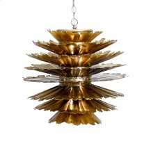 Gold Leafed Iron Pierced Pendant. Comes With 3' Matching Chain and Canopy. Uses (1) Single 60w Bulb. Additional Chain May Be Purchased Upon Request.
