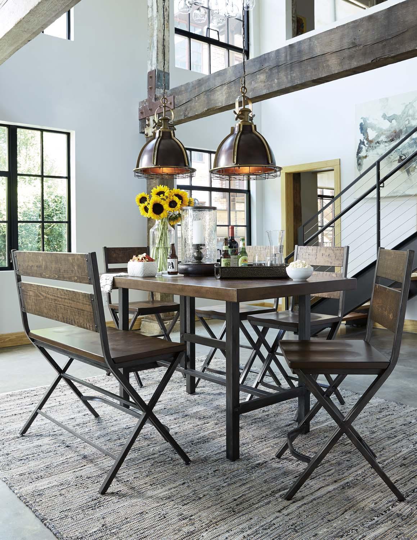 Kavara   Medium Brown 5 Piece Dining Room Set