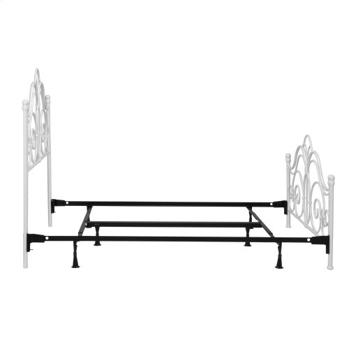 Rhapsody Complete Metal Bed and Steel Support Frame with Delicate Scrolls and Finial Posts, Glossy White Finish, California King