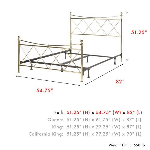 Lennox Complete Metal Bed and Steel Support Frame with Diamond Pattern Design and Downward Sloping Top Rails, Classic Brass Finish, Full