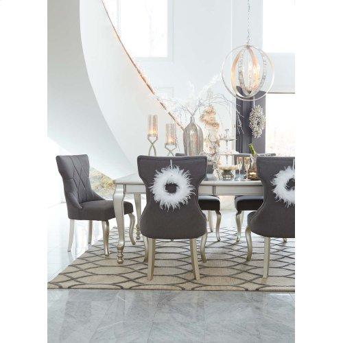 Coralayne - Silver Finish 5 Piece Dining Room Set