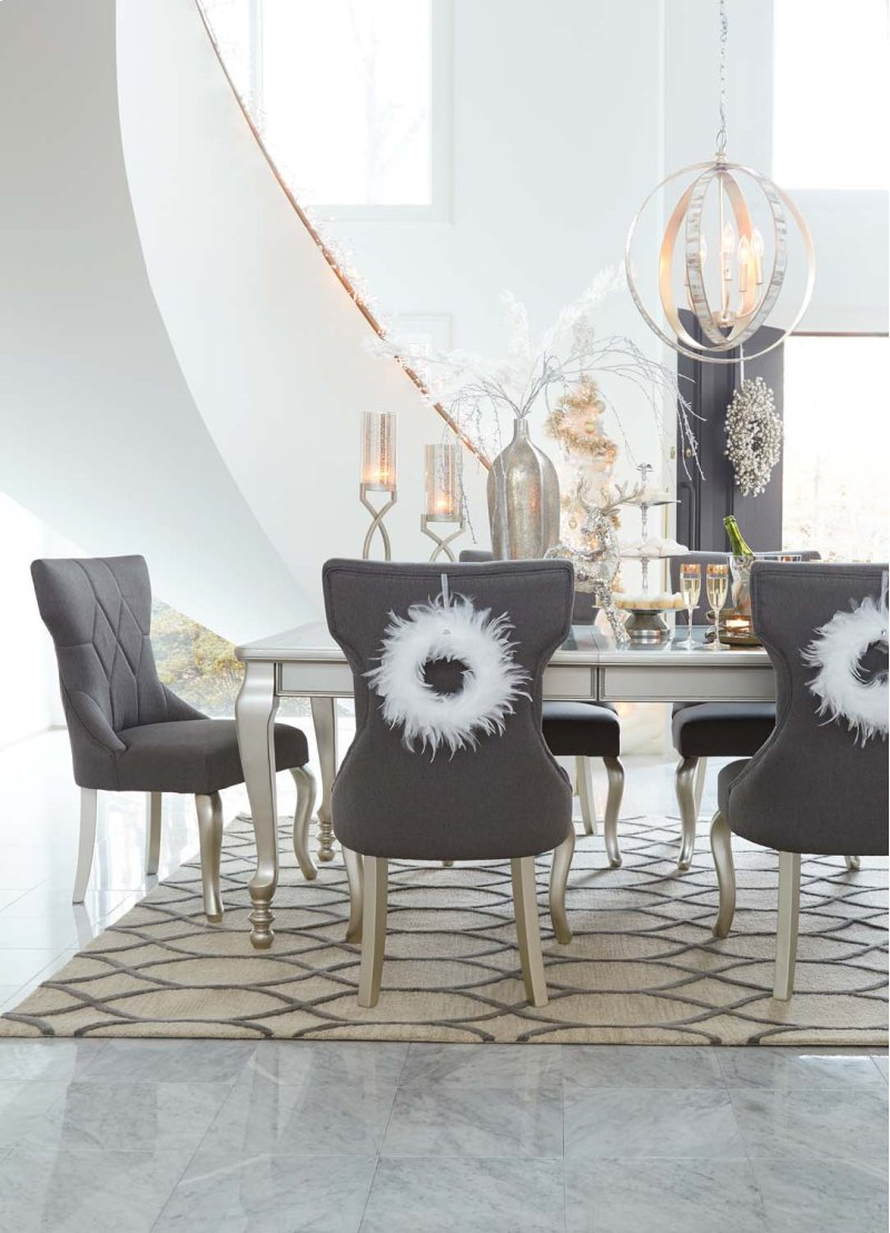 Coralayne silver finish 5 piece dining room set