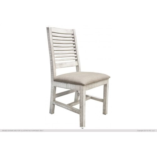 Chair w/ Ivory finish & Fabric Seat